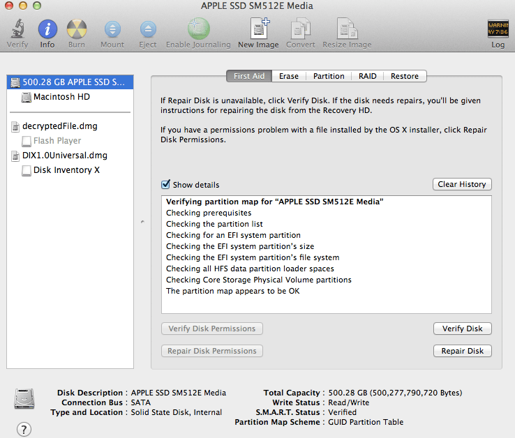 verify disk permissions on the mac